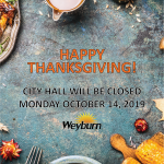City of Weyburn Thanksgiving Hours